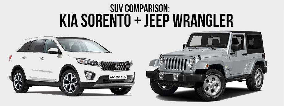 SUV comparison: Jeep Wrangler and Kia Sorento
