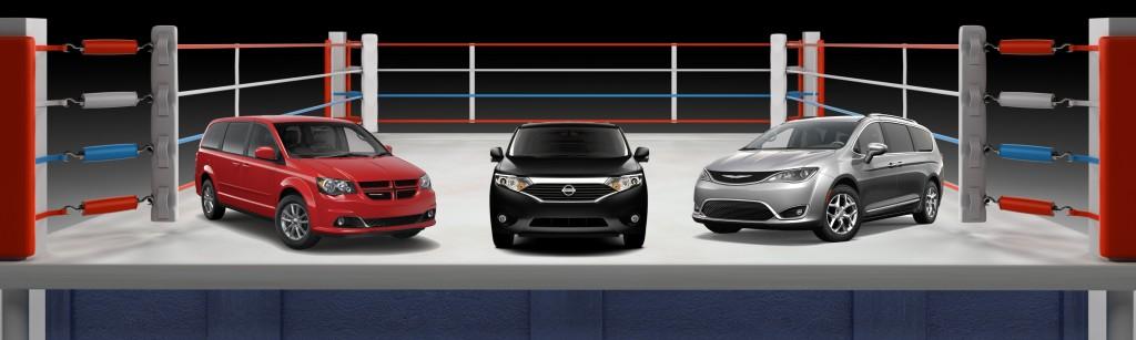 Minivan Comparison: 2017 Chrysler Pacifica, 2016 Dodge Grand Caravan, and 2016 Nissan Quest