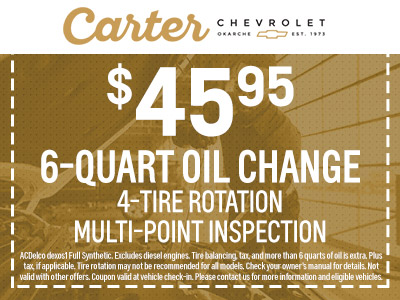 Oil Change Coupons Colorado Springs >> Auto Service Specials El Reno Carter Chevrolet