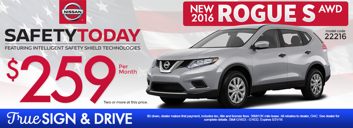 New 2016 Nissan Rogue S Lease Special