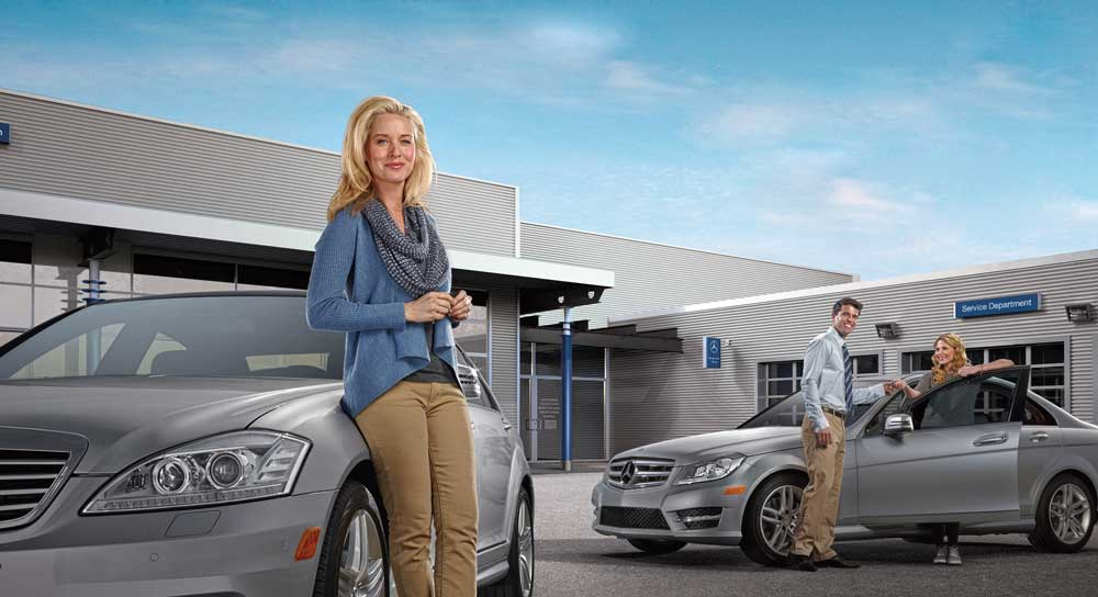 Woman with Mercedes Benz