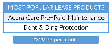 most popular lease products - acura care pre-paid maintenance - dent and ding protection - $29.99 per month