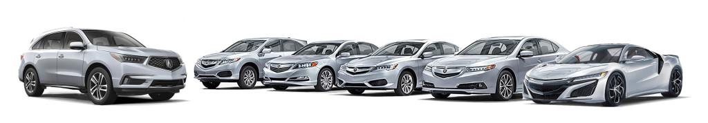 Full Acura vehicle line up - MDX suv, rdx suv, ilx sedan, tlx sedan, rlx sedan and nsx supercar