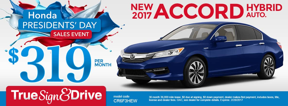 New 2017 Honda Accord Hybrid Lease Special