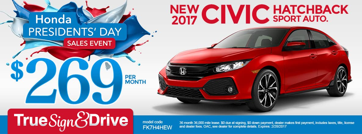 New 2017 Honda Civic Hatchback Sport Lease Special