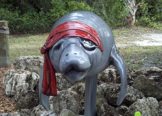 Pirate Manatee statue at Park