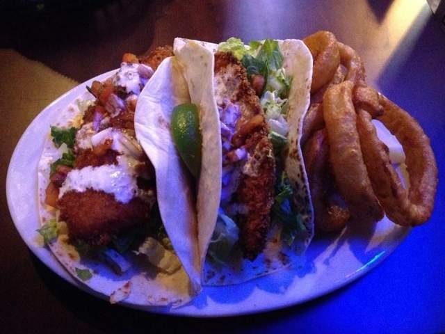 Fish tacos at the oak tavern