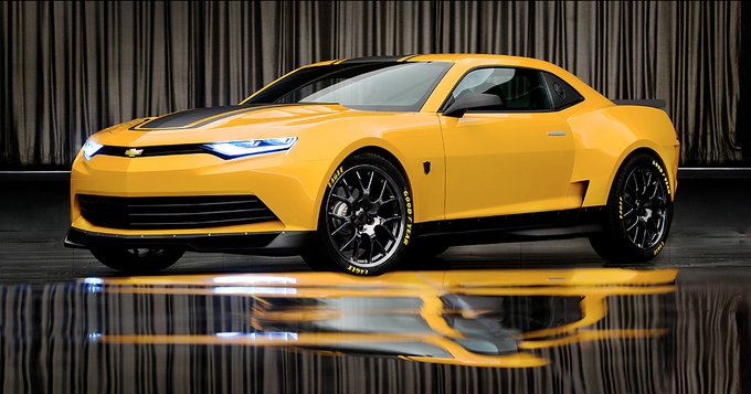 Yellow 2016 Chevy-Camaro in a showroom